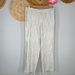 J. Jill Size 10 Striped Linen Stretch Pull On High Waisted Pants Black White